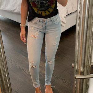 Zara Mid-Rise Ripped Skinny Jean